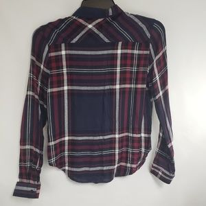 Polly & Esther Tops - Polly & Esther Pink Plaid Cropped Button Down